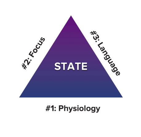 peak state triangle image with labels called emotional triad