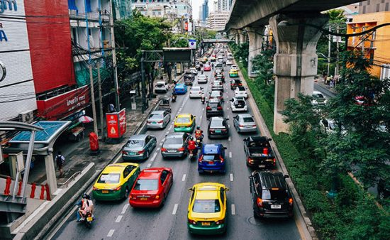 anxiety symptoms city street with cars in heavy traffic