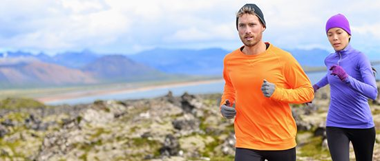 weight loss tactics man and woman running in mountains