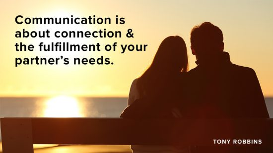 keys to communicating in relationships quote with couple watching sunset