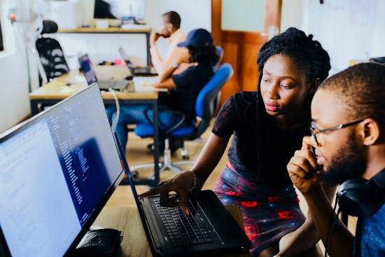 woman teaching coding
