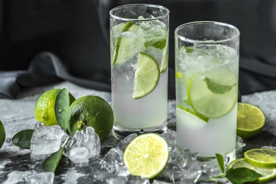 glasses of water and lime