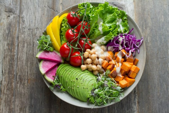 bowl of healthy fruits and vegetables