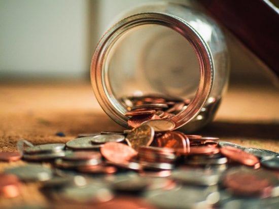 a jar with a coins